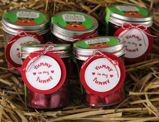 Swap Erdbeerbonbons dekoriert mit Yummy in My Tummy von Stampin' Up!
