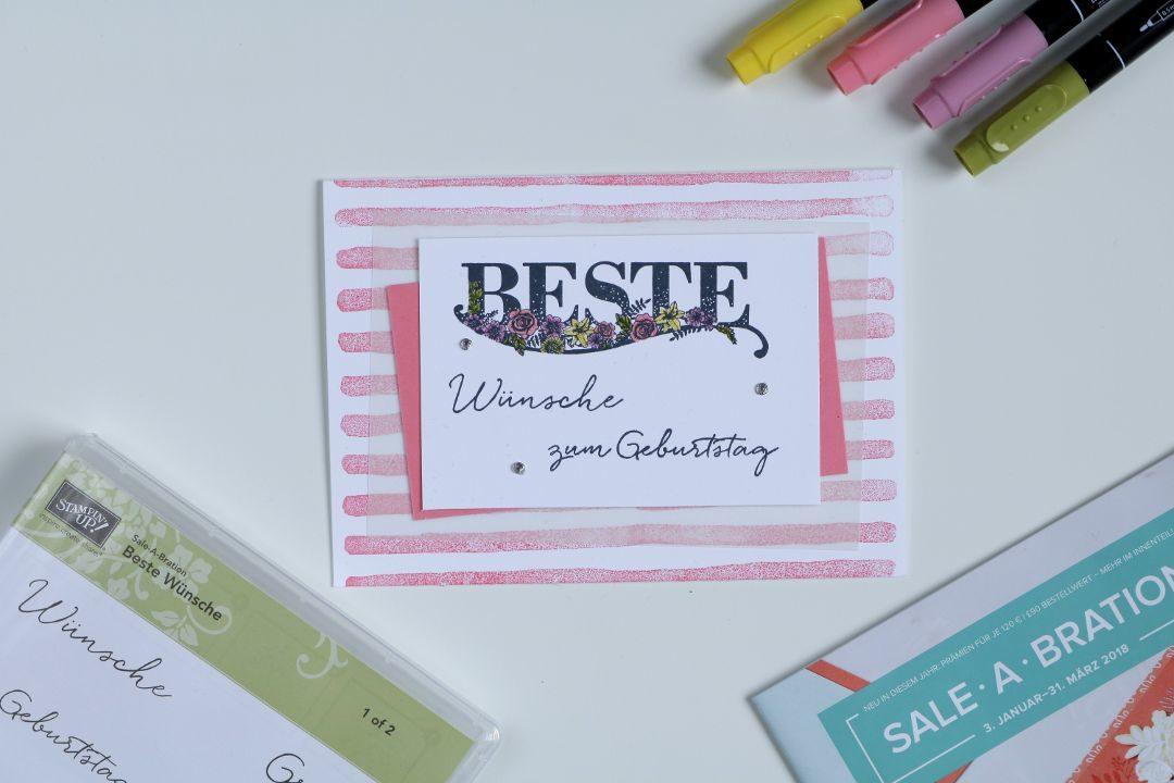 Geburststagskarte Flamingorot mit Produkten von Stampin' Up! Sale-A-Bration 1