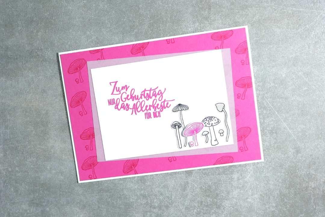 Geburtstagskarte mit Pilzen mit Produkten von Stampin' Up! 1