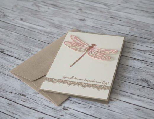 Geburtstagskarte mit Libelle und Li(e)belleien von Stampin' Up!