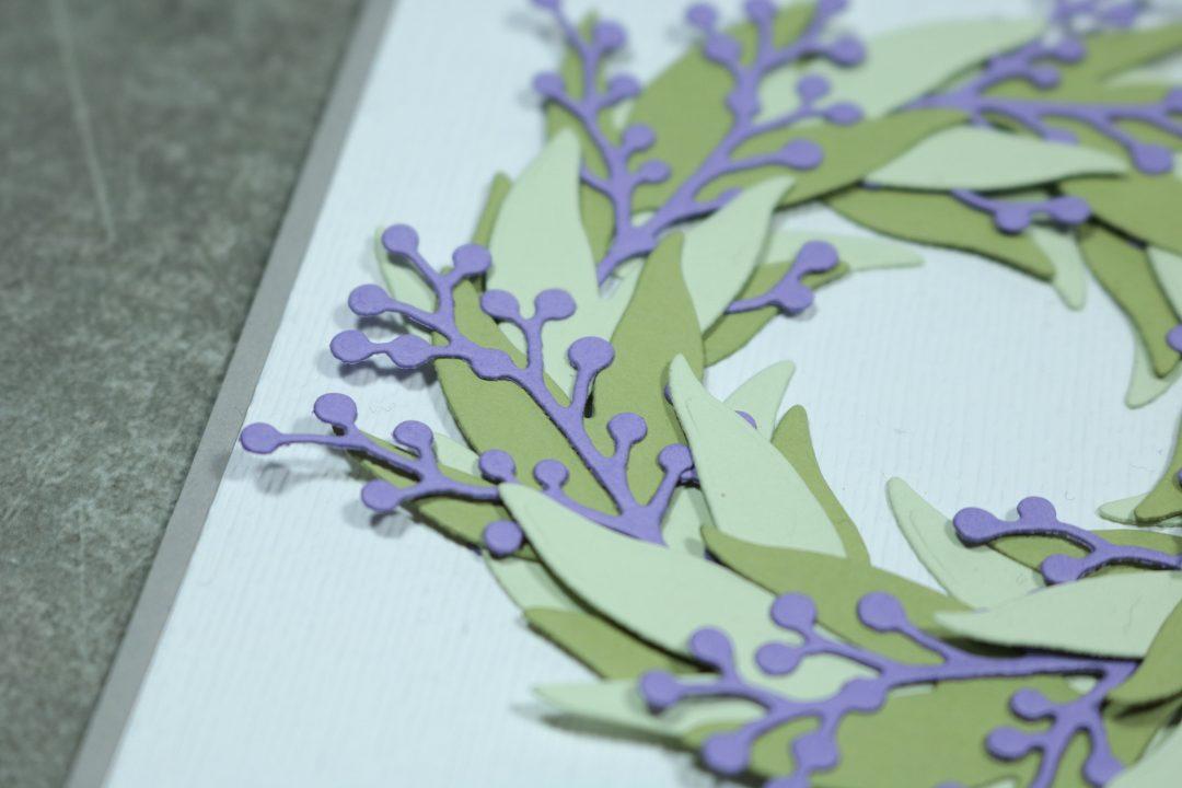 Glückwunschkarte mit Blätterkranz 2