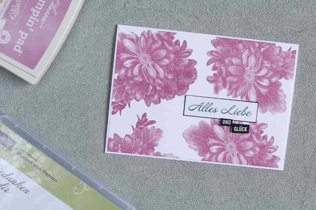 Grußkarte SAB Alles Liebe mit Blumen von Herzen von Stampin' Up! 1