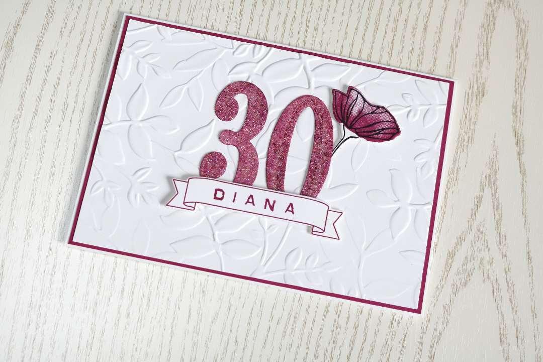 Schauwandgestaltung Karte zum 30. Geburtstag