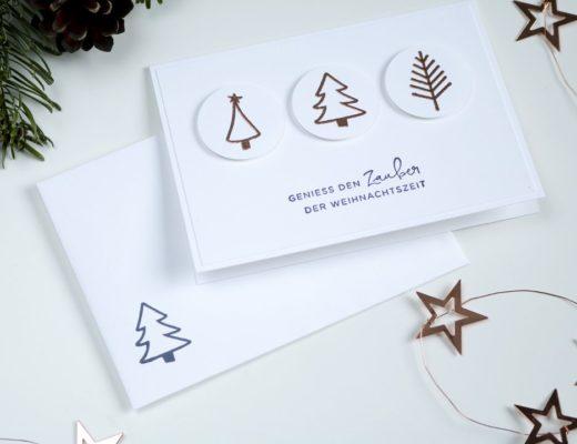einfache Weihnachtskarte Weihnachtsbäume mit Produkten von Stampin' Up!1