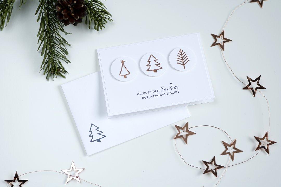 einfache Weihnachtskarte Weihnachtsbäume mit Produkten von Stampin' Up!2